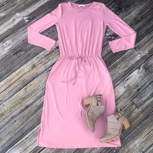 REBORN J Modest Midi Drawstring Dress Mauve Pink